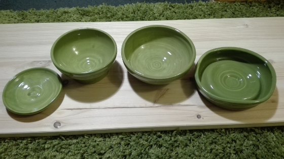 Four pottery items made by myself